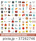100 hobby excellence icons set, flat style 37262746