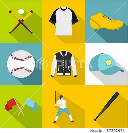 Baseball tournament icon set, flat style 37262971