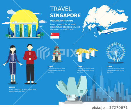 Singapore map with outstanding places illustration 37270671