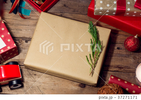 Christmas gift with decoration for festival 37271171