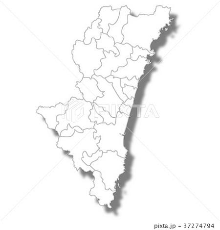 宮崎 地図 白 アイコン  37274794