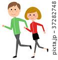 カップル 若い ジョギングのイラスト 37282748