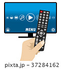 Hand holding a remote control, smart television,  37284162