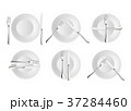 Realistic cutlery and signs of table etiquette 37284460