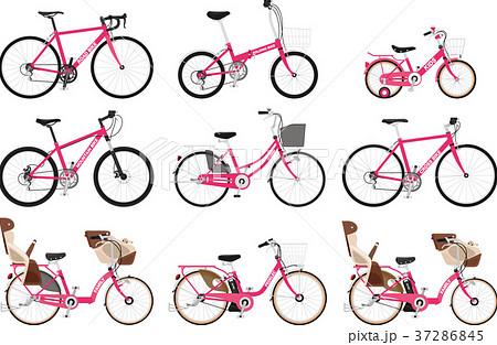 いろいろな種類の自転車のセットのイラスト素材