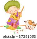掃き掃除をする子 37291063
