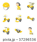 Electric scooter rent icons set, cartoon style 37296536