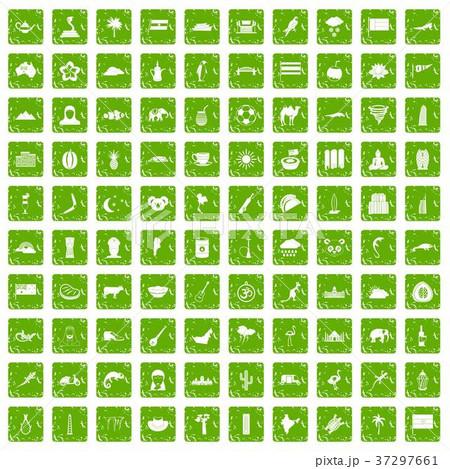 100 exotic animals icons set grunge green 37297661