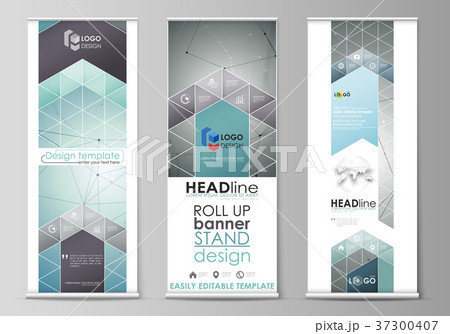 roll up banner stands flat design templatesのイラスト素材 37300407