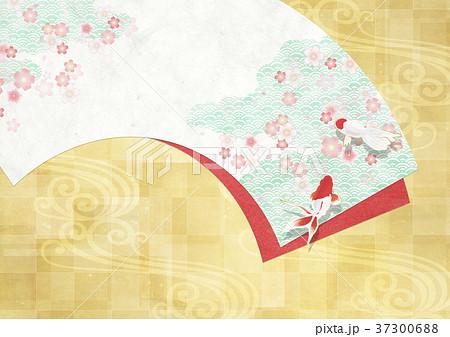 和を感じる背景素材(扇、桜、金箔、金魚) 37300688