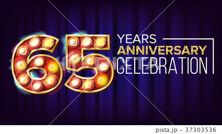 65 Years Anniversary Banner Vector. Sixty-five 37303536