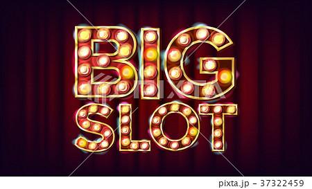 Big Slot Banner Vector. Casino Lamp Background 37322459