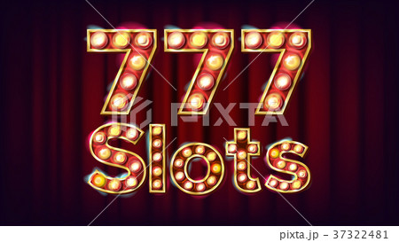 777 slots Banner Vector. Casino Vintage Style 37322481