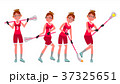 Female Lacrosse Player Vector. Profesional Sport 37325651