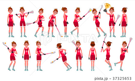 Lacrosse Girl Vector. Catch The Ball. Running 37325653