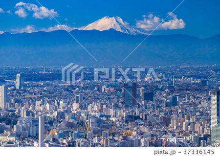 《東京都》東京の街並み・彼方に浮かぶ富士山 37336145
