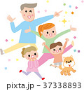 四人家族とペット ハッピーイラスト 37338893