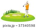 ゴルフするシニア女性 背景付きクリップアー 37340598