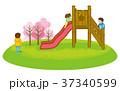 滑り台で遊ぶ子供達 春 クリップアート 37340599