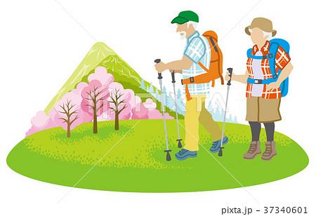 登山するシニア夫婦 春の山 クリップアートのイラスト素材 37340601