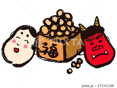 節分 豆まき 鬼の面とおかめの面と福豆のイラスト素材 37343186 Pixta