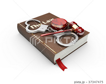 Judges wooden hammer, law book and handcuffs 37347475