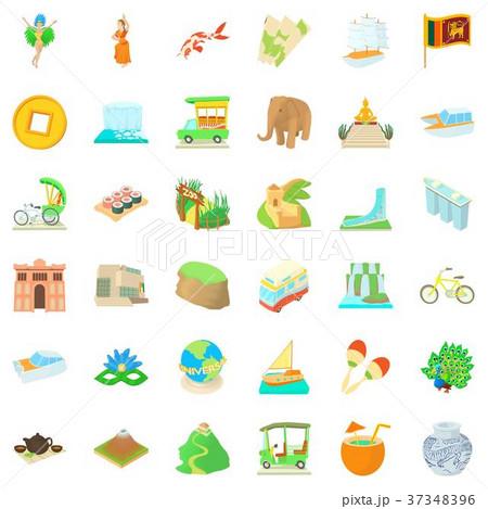 Globe journey icons set, cartoon style 37348396
