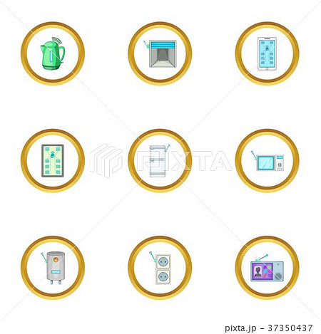 Smart home automation icons set, cartoon style 37350437