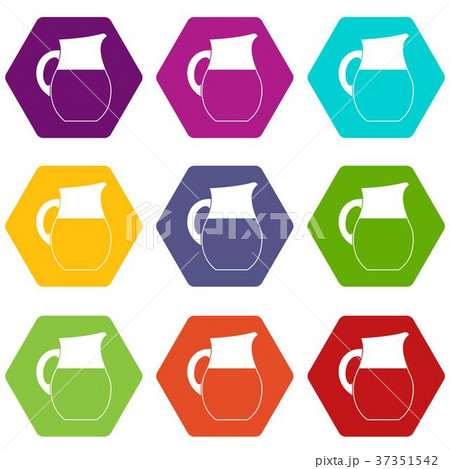 pitcher of milk icon set color hexahedronのイラスト素材 37351542