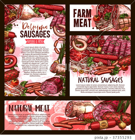 Vector sketch meat farm sausages product posters 37355293