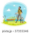 Vector fisherman fishing and fish catch at lake 37355346