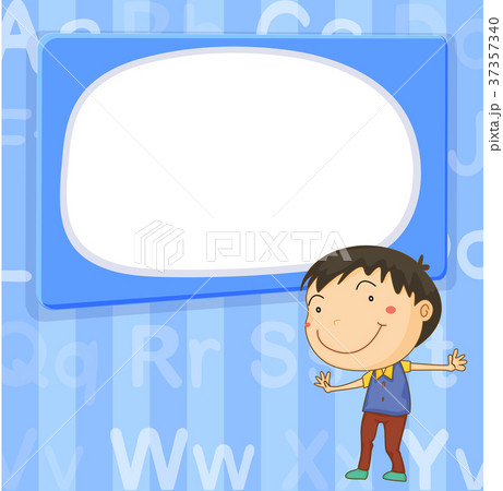 border template with boy on blue backgroundのイラスト素材 37357340