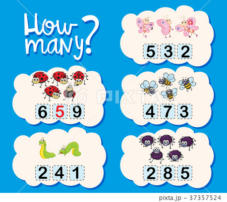 counting worksheet with numbers and picturesのイラスト素材 37357524