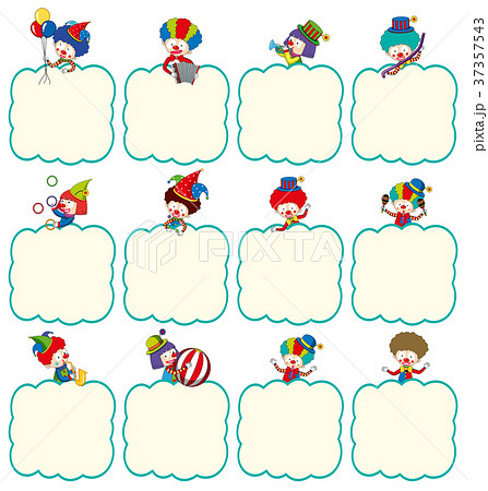 border template with clowns in different actionsのイラスト素材