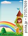 Scene with fairies flying in garden 37357609