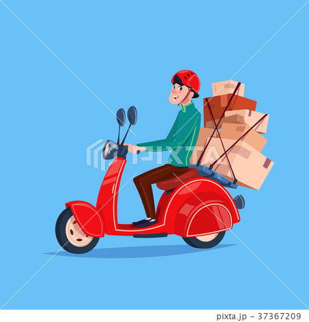 Express Delivery Service Icon Courier Boy Riding 37367209