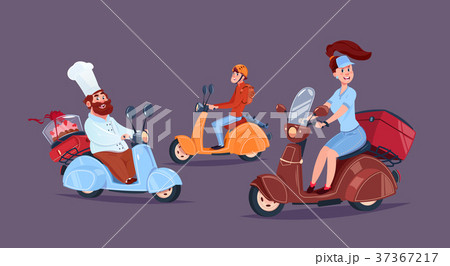 Food Delivery Service Icon Courier People Riding 37367217
