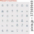 Linear women clothes icon set 37369949