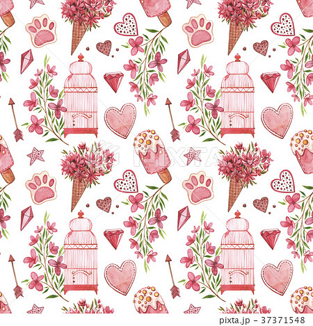Seamless patterns with bird. Pink Watercolor set 37371548