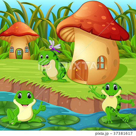 Frogs around a mushroom house 37381617