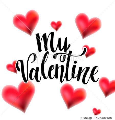 valentine lettering with heartsのイラスト素材 37386480 pixta