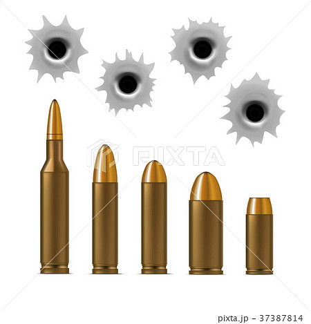Realistic Detailed 3d Bullets and Bullet Holes Set 37387814