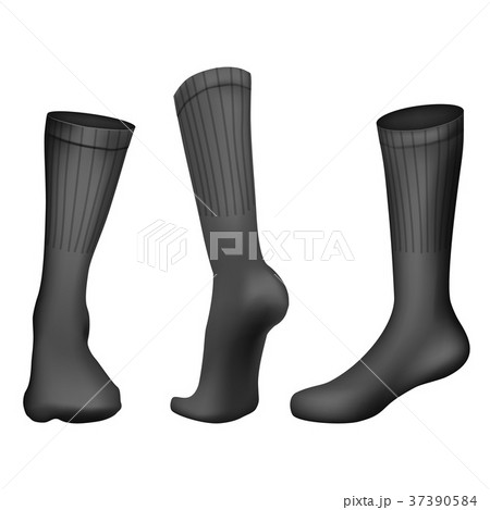 vector realistic football socks black templateのイラスト素材