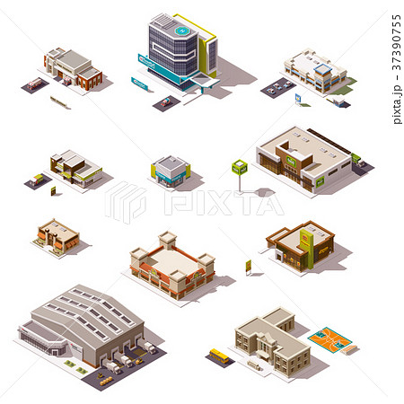 Vector isometric buildings set 37390755
