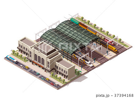 Vector isometric train station  37394168