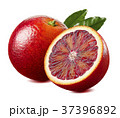 Red blood orange and half with leaf isolated  37396892