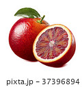 Red blood orange with leaf isolated on white 37396894