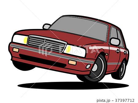 懐かしめのビッグセダン ワイン系 自動車イラスト ジャンプ 37397712