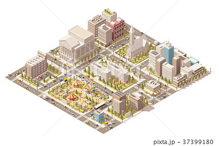 Vector isometric low poly city 37399180