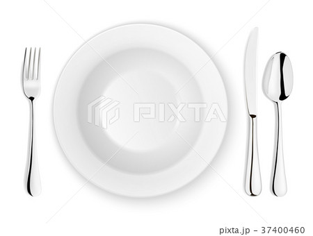 Realistic vector spoon, fork, knife and dish plate 37400460